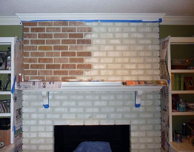 Turn A Bright White Fireplace Into A Rustic Brick Hearth