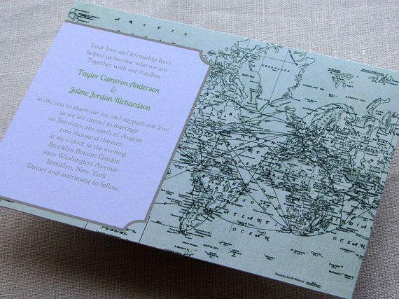 DIY Vintage Map Wedding Invitation Green