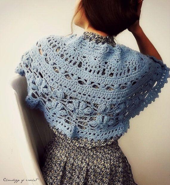 Crochet Lite : Lacy Capelet Crochet Light Blue by ChronologyOfCrochet on Etsy, $68.00