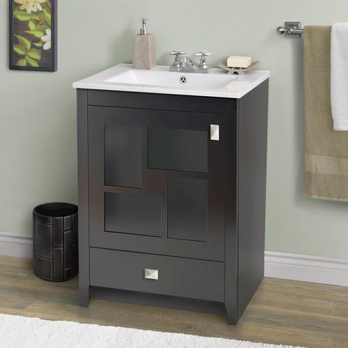 Popular  24quot White Modern Bathroom Vanity W Undermount Sink At Menards