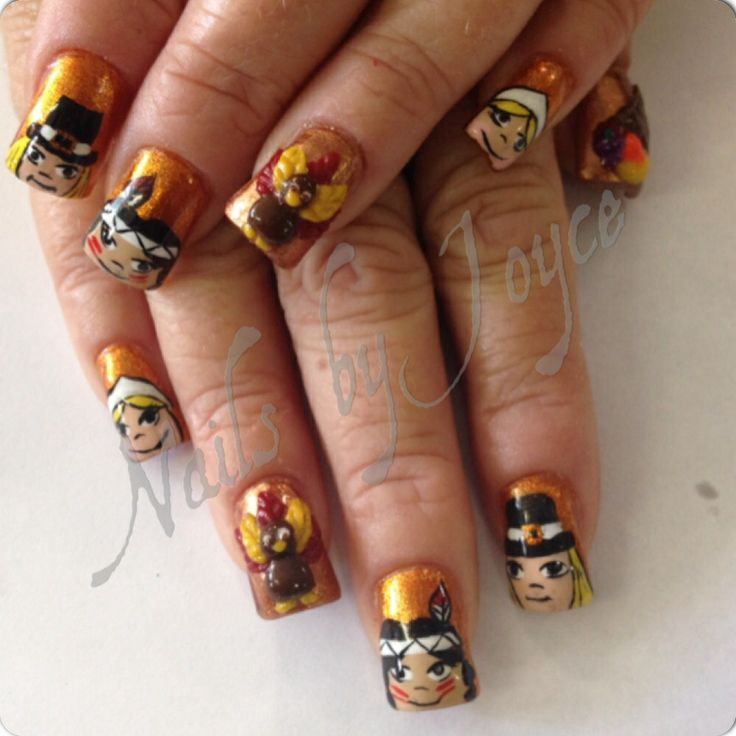 Thanksgiving nails | 3D Nail Art | Pinterest