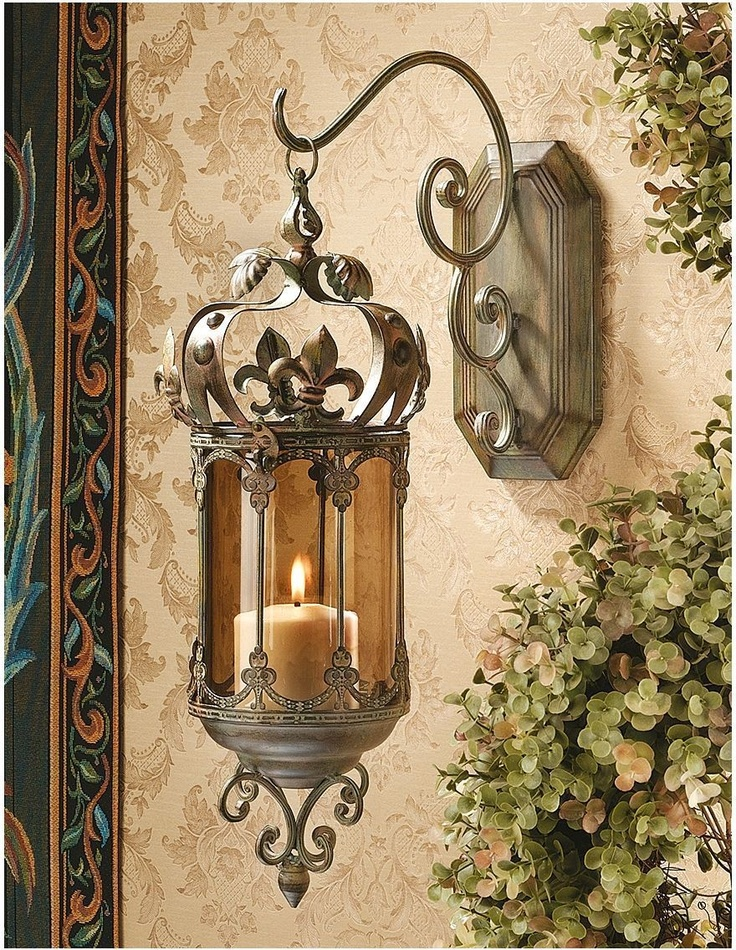 How To Hang Wall Sconces For Candles : Fleur De Lis Hanging Metal Scrollwork Pendant Lantern Sconce Wall Can?