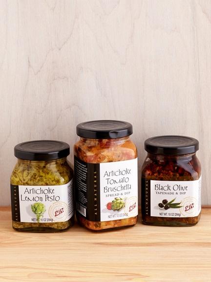... artichoke bruschetta, black olive tapenade, and artichoke lemon pesto