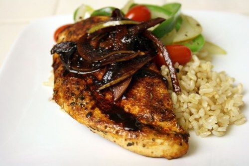 Herbal Chicken with Pear and Red Wine Sauce