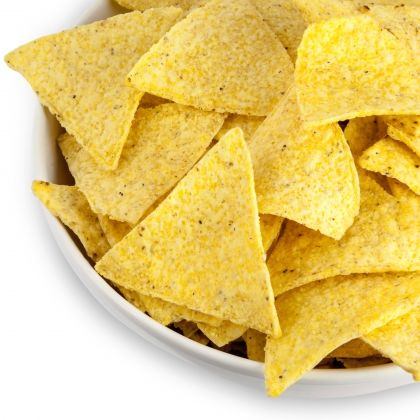 Homemade Tortilla Chips. Cut corn tortillas, oil, salt, and toast.