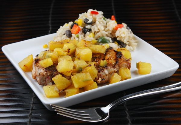 Chili Rubbed Pork Chops with Grilled Pineapple Salsa