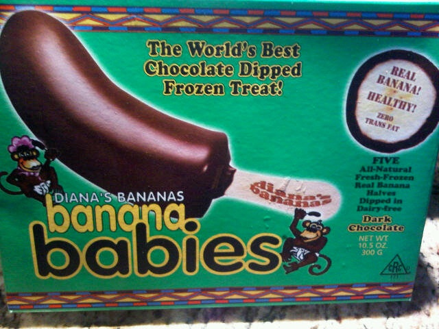 Banana Babies: These got rave reviews from my entire gang! Dark chocolate frozen bananas for 130 calories a piece. Delicious treat.