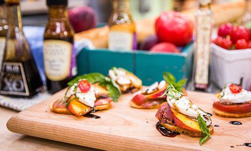 ... - Recipes - Peach Tomato and Mozzarella Crostini | Hallmark Channel
