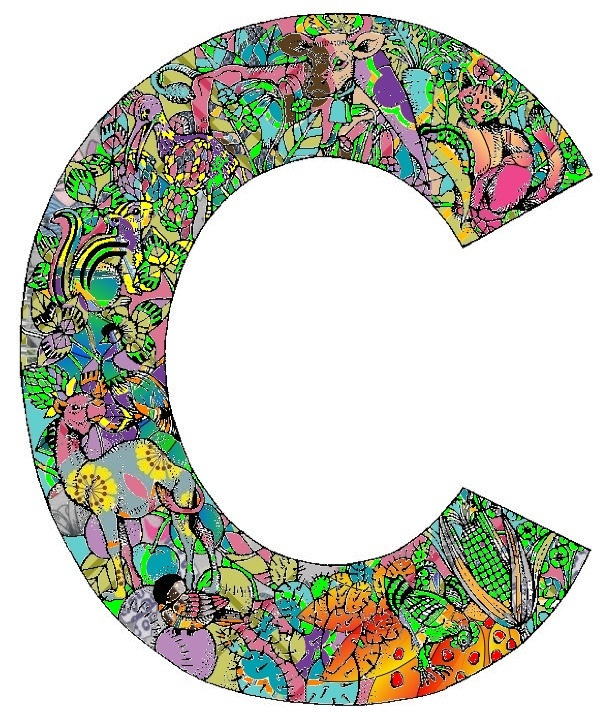 "Colored-in letter ""C"" 