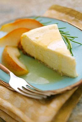 Goat Cheese Cheesecake with Roasted Rosemary Pears | Recipe
