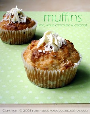 Lime, White Chocolate, and Coconut Muffins