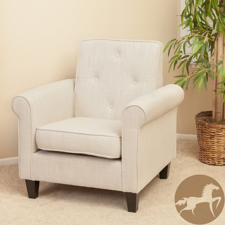 Christopher knight home isaac tufted beige fabric club chair - Comfortable chairs small spaces property ...