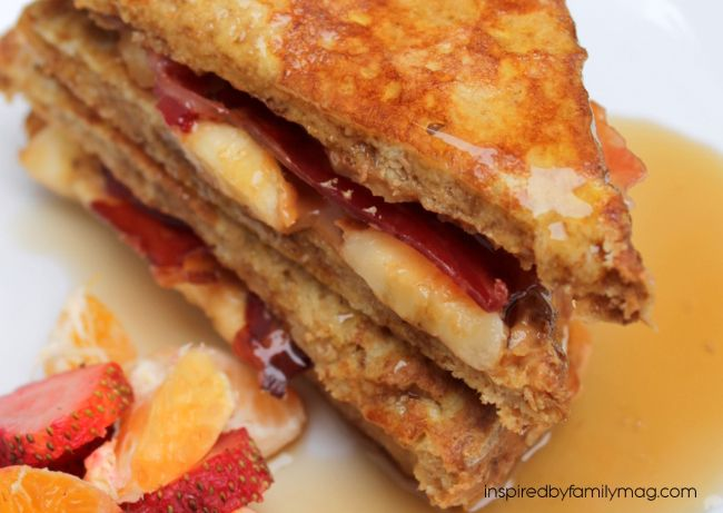 The Elvis: peanut butter, banana and bacon french toast sandwich
