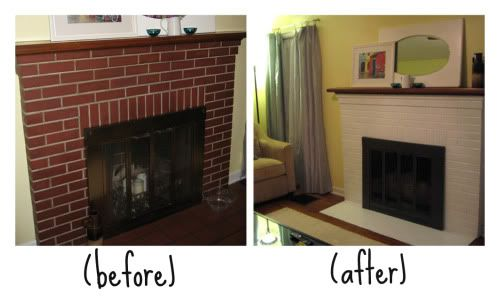 painted brick fireplace home