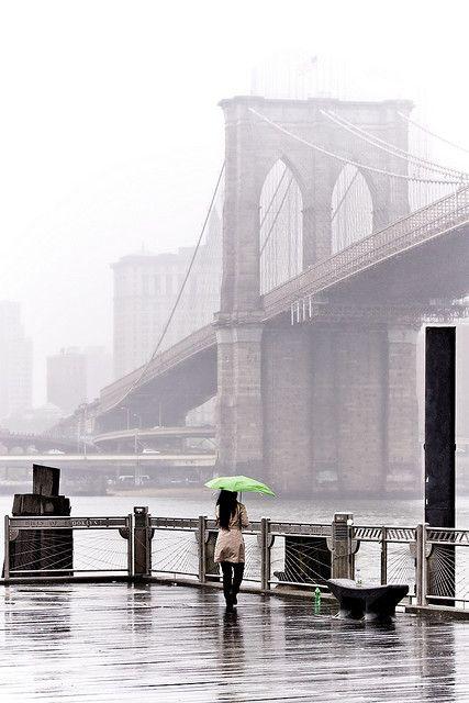 Fog and rain at Brooklyn Bridge NYC