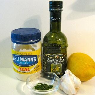 Lemon aioli dipping sauce for roasted artichokes