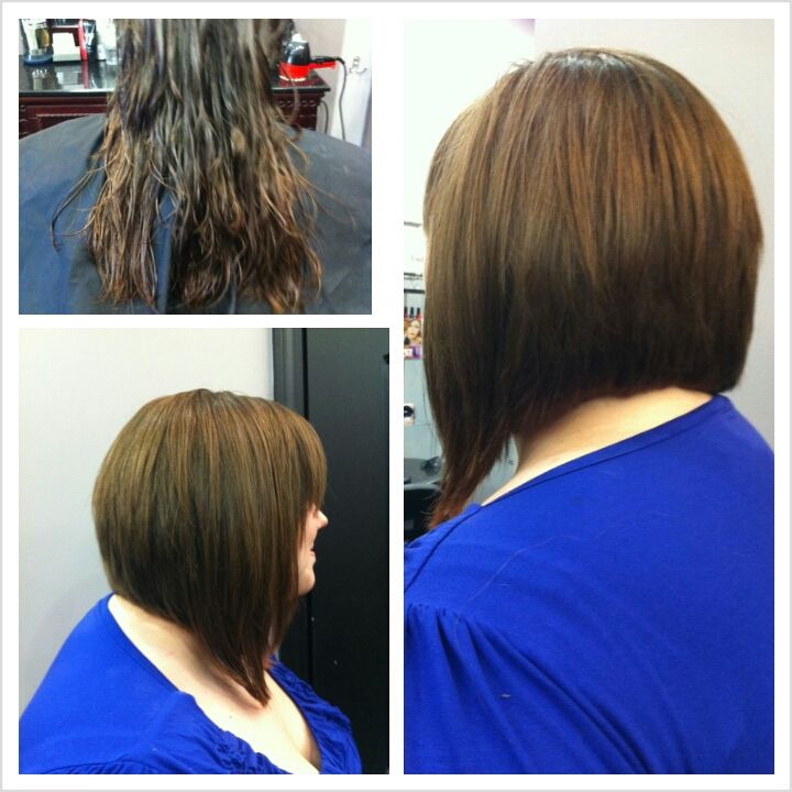 Before and after Long Angled Bob Haircut | definitely NOT ...