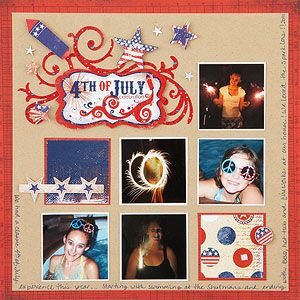 Grid Fourth of July Scrapbook Page