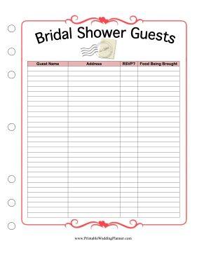 printable wedding guest list template