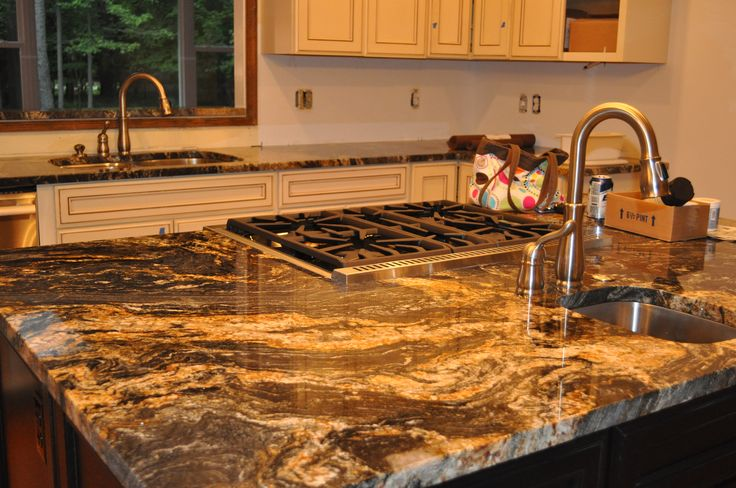 Magma Gold Granite With Lots Of Movement For Kitchen