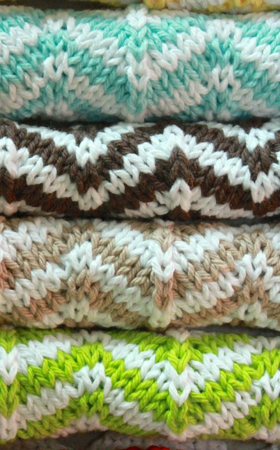 Knit Dishcloth Patterns Two Colors : Knit chevron dishcloth PATTERN, instant download