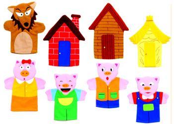 Three Little Pigs Hand Puppets | Crafts | Pinterest