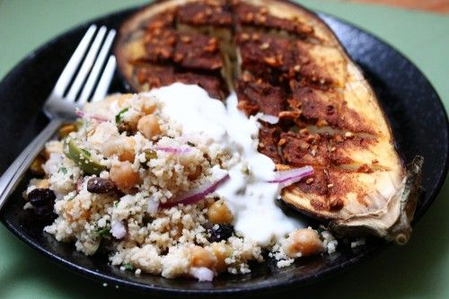 Baked Eggplant with Couscous and Yogurt | recipes to make... | Pinter ...