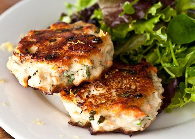 // salmon cakes with lemon, dill, and homemade dijon mayonnaise