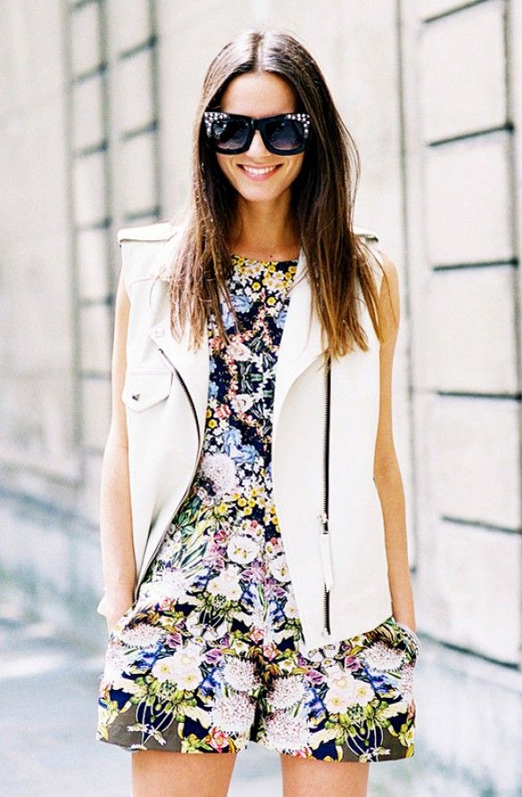 Spring / Summer - street chic style - sleeveless floral print romper + white morto chic vest + black sunglasses