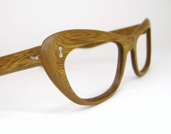 Eyeglass Frames Wood : Vintage Teak Wood Grain Cat Eye Eyeglasses Frame