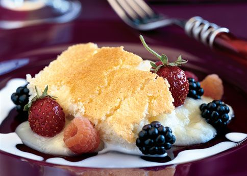 Meyer Lemon Buttermilk Pudding Cake with Fresh Berries Recipe: Bon ...