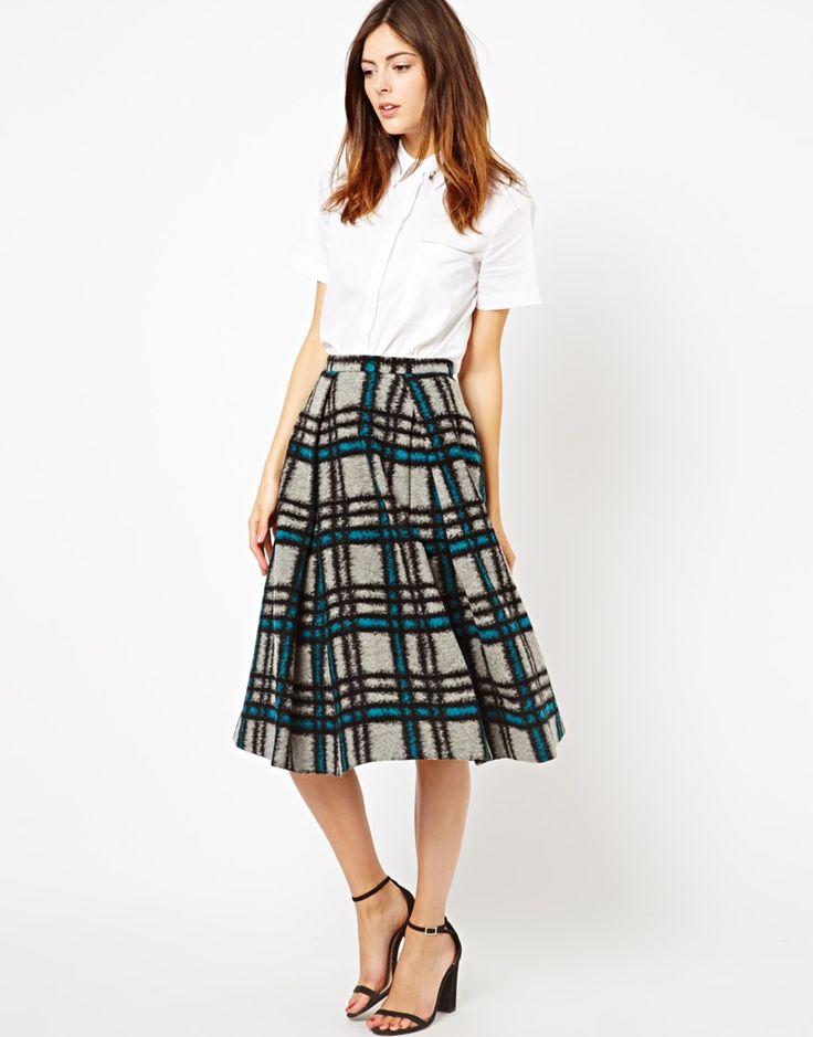 midi skirt in brushed check