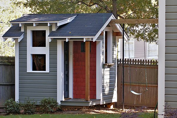 Playhouse Shed With Swings Attached Home Ideas Pinterest