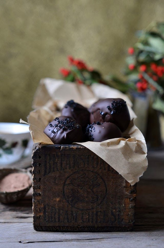 Chocolate Caramel Truffles with Black Sea Salt