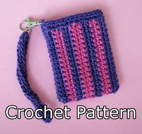 Crochet Wristlet Purse Pattern : ... Theme: Wristlet bag PDF Crochet Pattern - Striped Gadget Bag via Etsy
