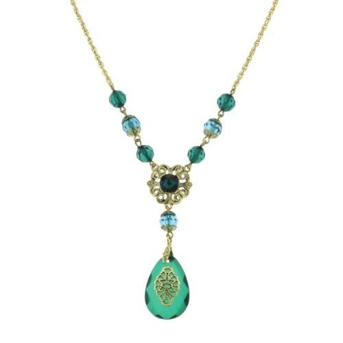 Dionysis Flower Multifaceted Emerald Pendant Necklace  1928 Jewelry ,