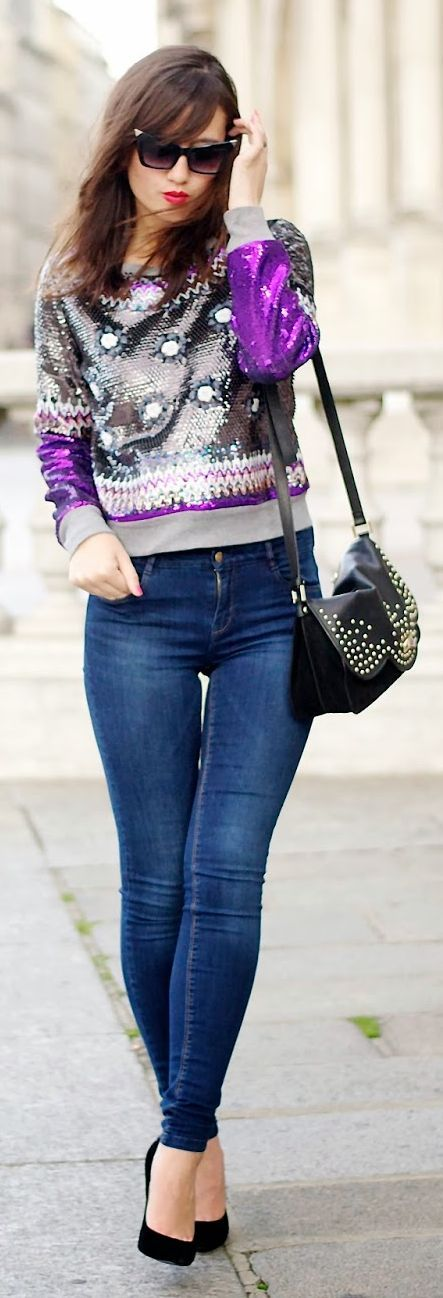 Manoush Grey And White Sequin Embellished Sweater