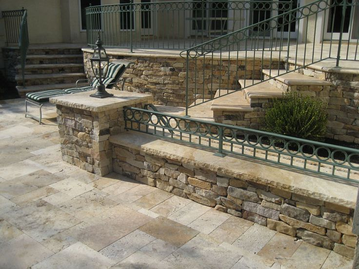 Stacked stone walls patio the great outdoors
