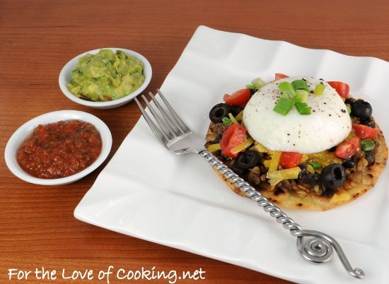 Mexican Tostada topped with a Poached Egg #vegetarian #glutenfree