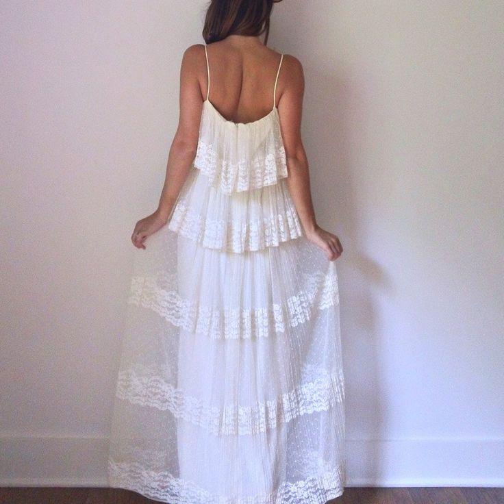 Ivory Lace Wedding Dress 70s Cream Boho Pleated Ruffle