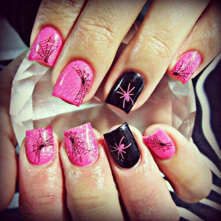 Pin by Lindyn Jolley on Halloween Nails | Pinterest | Breast cancer ...