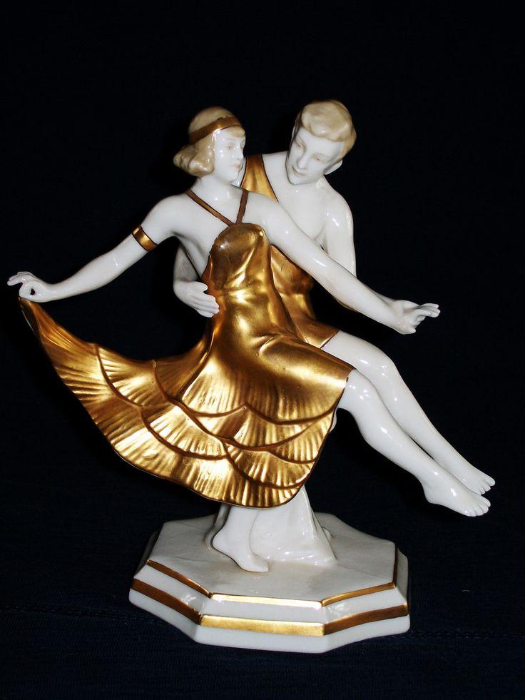 Antique German Dresden Ernst Bohne Art Deco Tango Dancers Porcelain Figurine