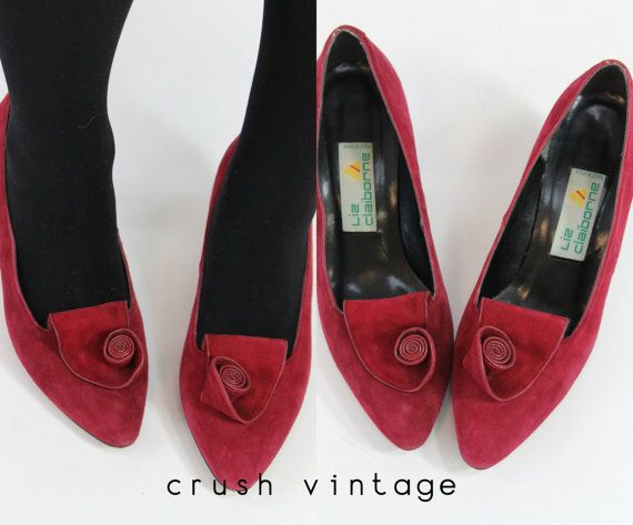 80s Liz Claiborne Shoes 8M / 1980s Raspberry Suede by CrushVintage