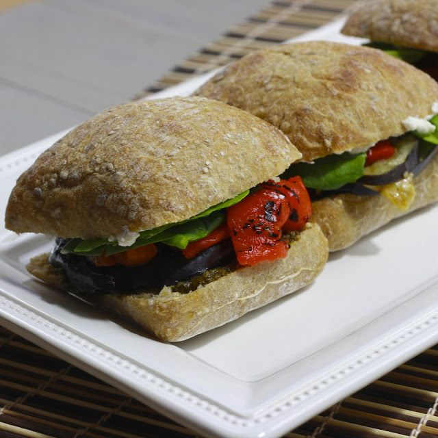 Grilled Eggplant, Roasted Red Pepper, Spinach, and Ricotta Sandwich