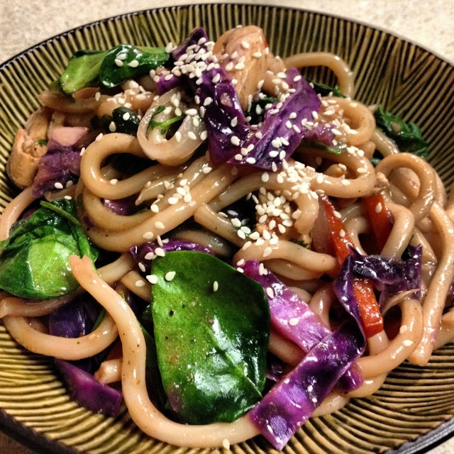 Spicy Chicken & Vegetable Stirfry on Udon. #noodles #asian