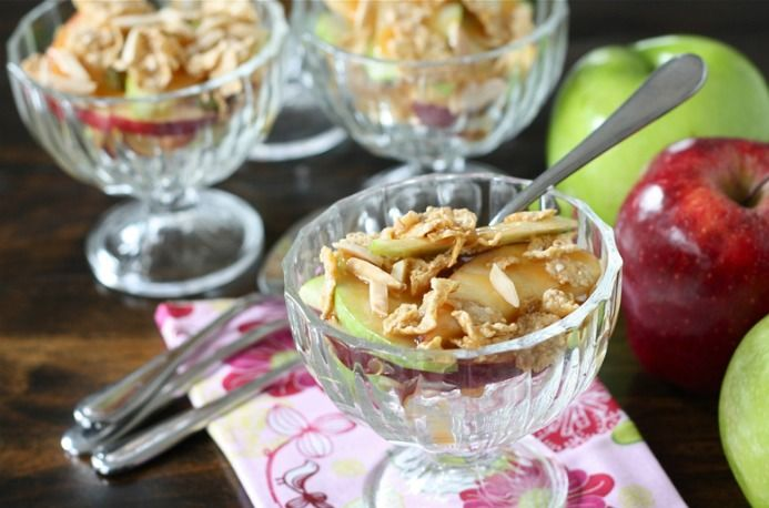 caramel apple sundaes...apples, multigrain oats and honey cereal ...