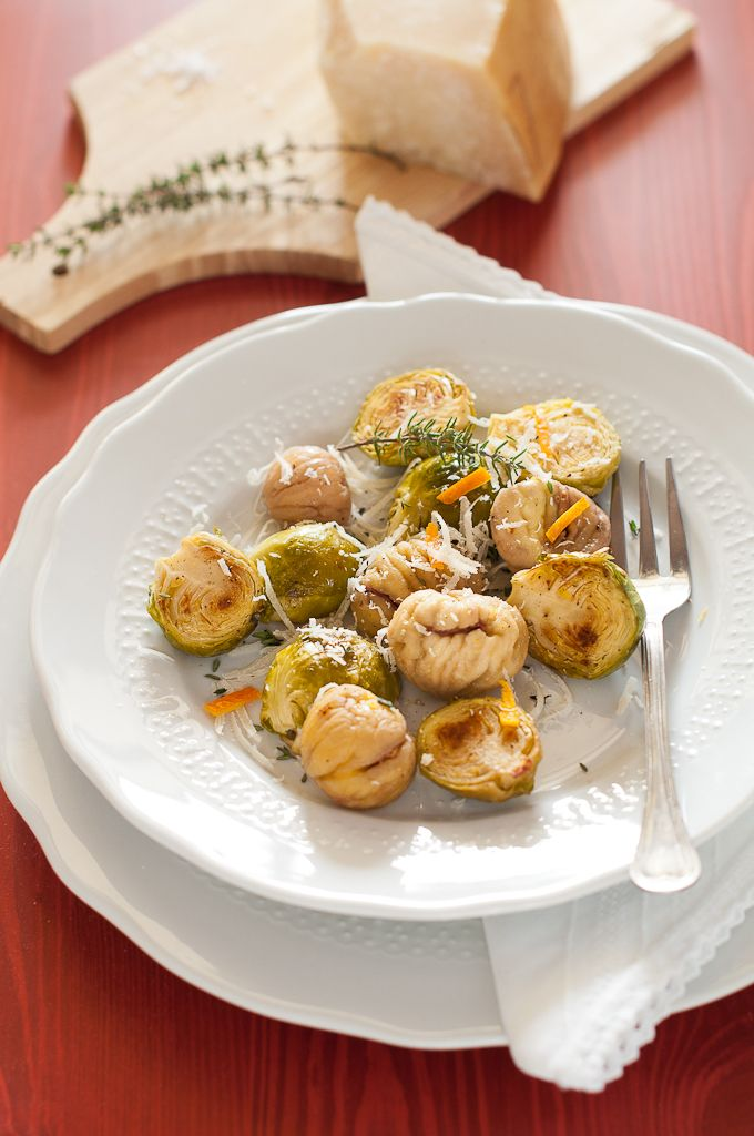 Brussels Sprouts, Chestnuts and Orange with Cheese
