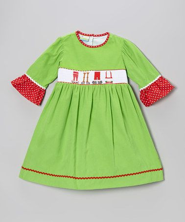Take a look at this green christmas feet smocked corduroy dress