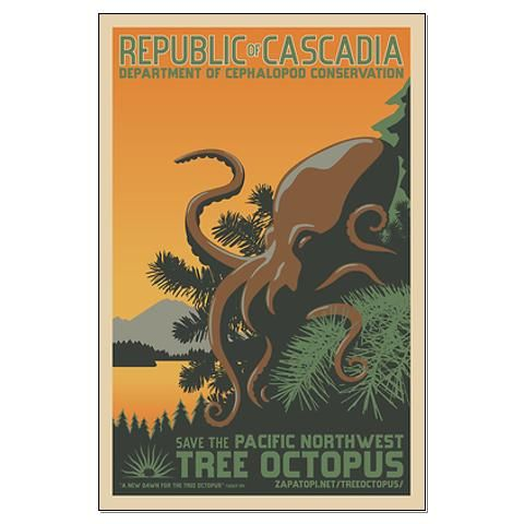 pacific northwest tree octopus poster  pacific northwest
