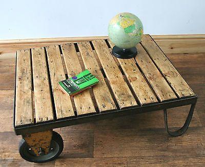 Vintage Industrial Pallet Trolley Coffee Table